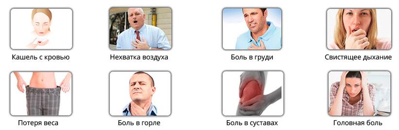 Основные признаки рака легких